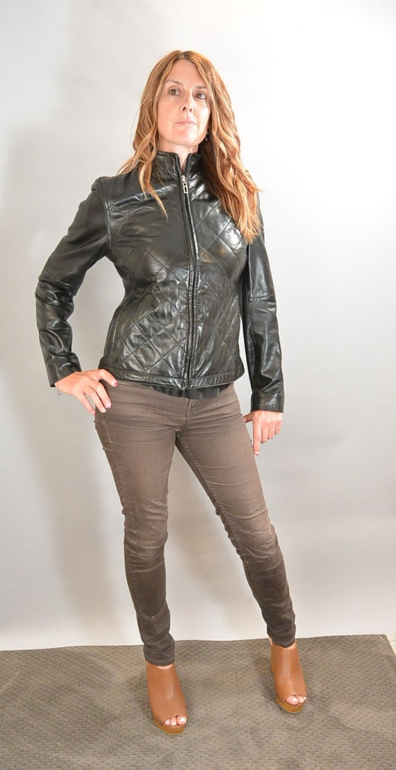 Vintage Quilted Leather Jacket// 90s Leather Jacke