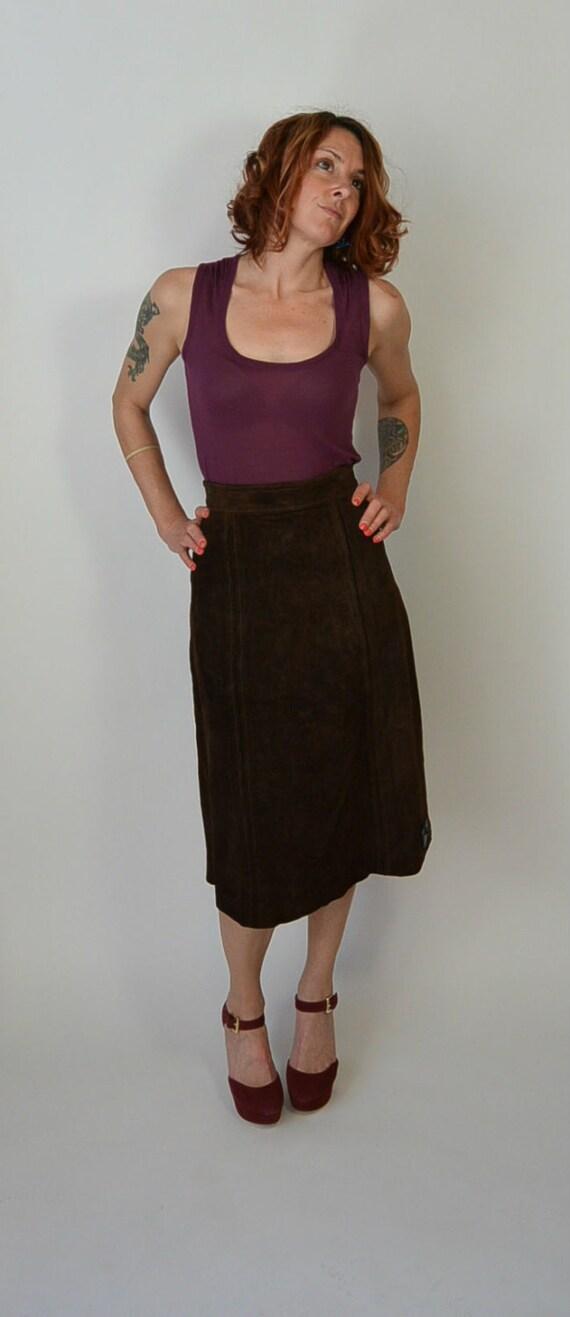 70s Suede Skirt// Vintage Brown Suede Skirt// 70s