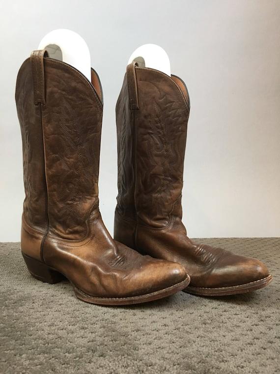 Mens Western Boots// Vintage Brown Leather Cowboy