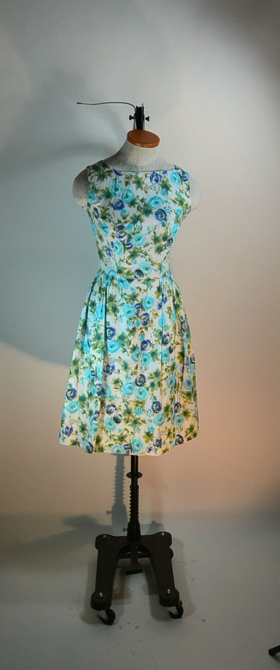 Cotton 50s Dress// 50s Spring Dress// Mad Men Dres