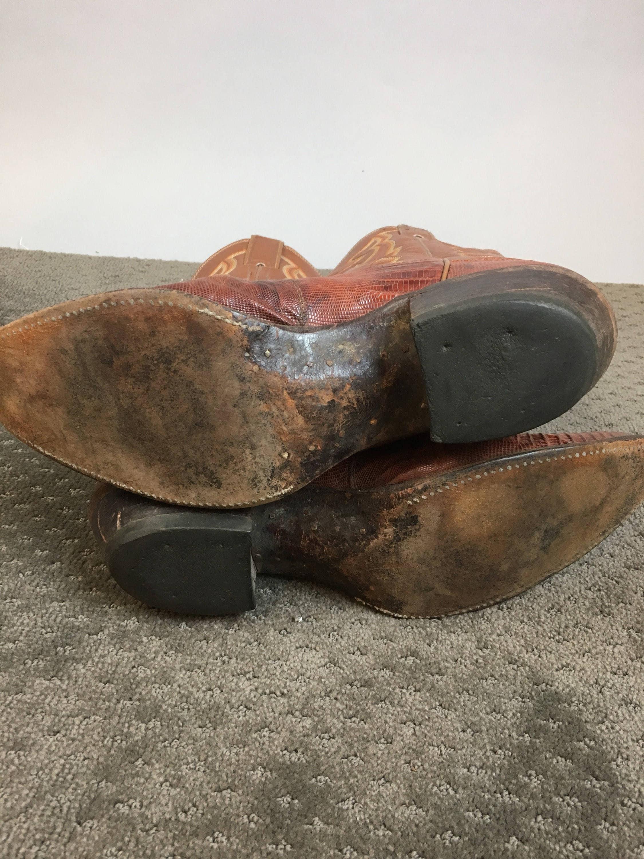 Vintage  Justin Justin Justin  Cowboy  botas    80s Urban Cowboy Lizard Skin and cuero  botas    Western  botas   hombres  10.5 R (F1) 466a22