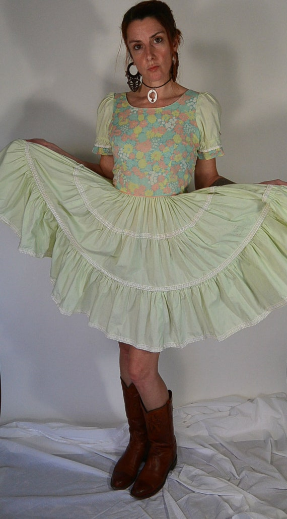 Square Dance Dress// 60s Lime Green Vintage Dress/