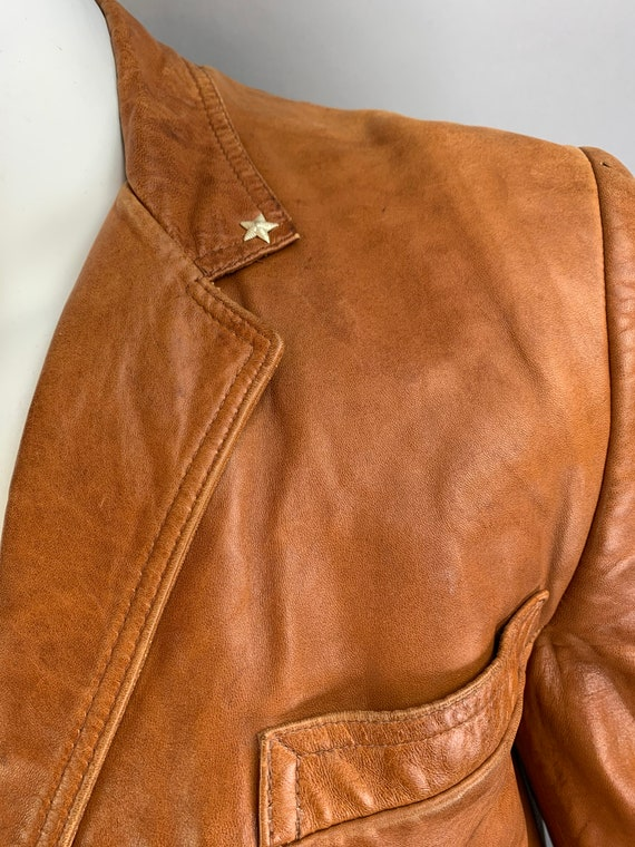 Vintage Mens Leather Blazer// 70s Brown Soft Leat… - image 9