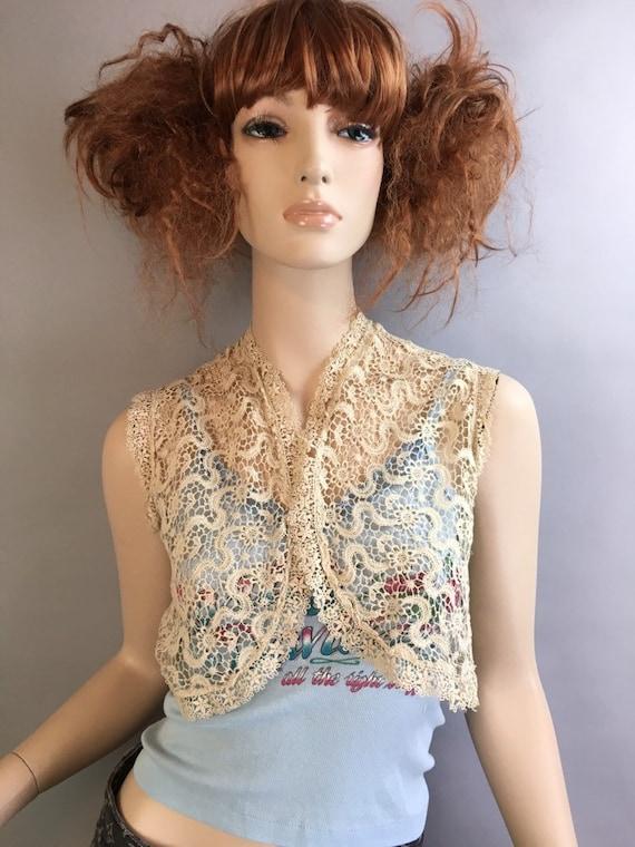 Vintage Lace Vest// 50s Lace Vest// Vintage Handma