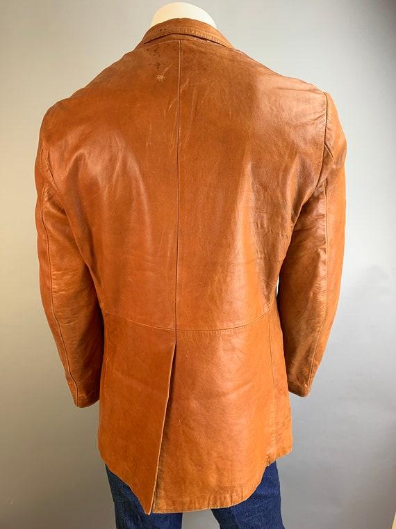 Vintage Mens Leather Blazer// 70s Brown Soft Leat… - image 2