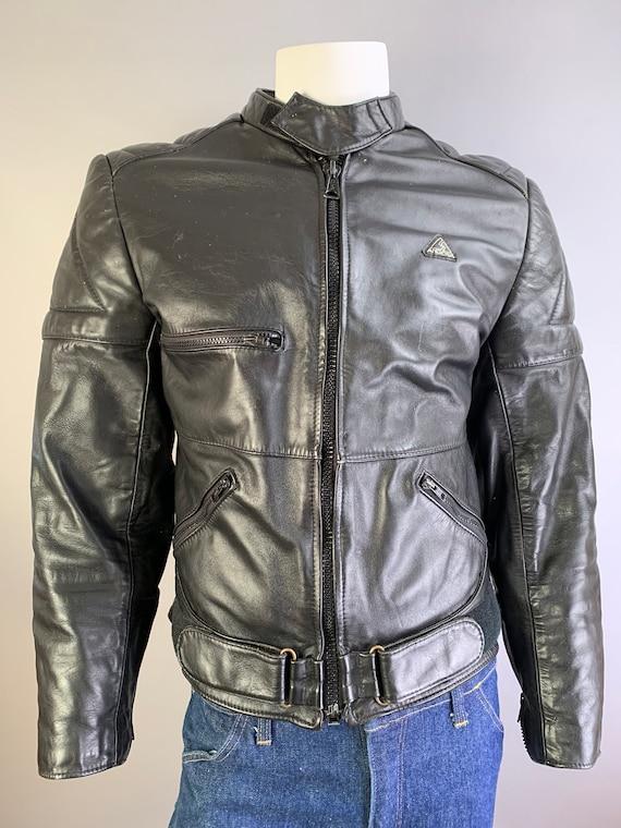 Vintage Motorcycle Jacket// Black Leather Motorcyc