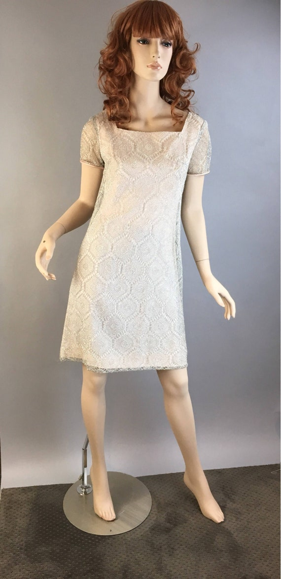 Vintage Mod 60s Dress// Sparkling Silver Vintage D