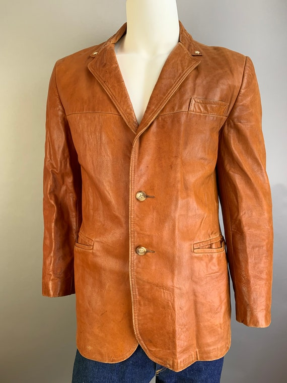 Vintage Mens Leather Blazer// 70s Brown Soft Leath