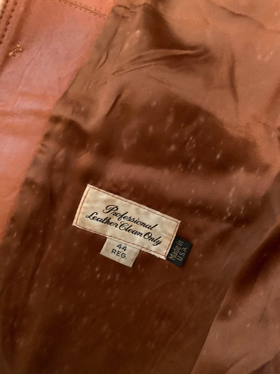 Vintage Mens Leather Blazer// 70s Brown Soft Leat… - image 8