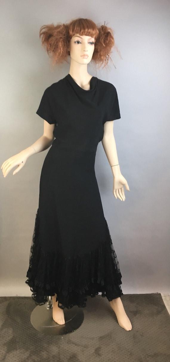 Vintage 40s Long Bias Cut Dress// Vintage Maxi 40s