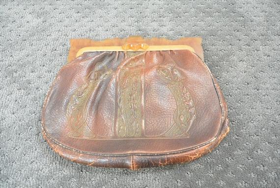 20s Tooled Leather Vintage Purse// Tooled Leather
