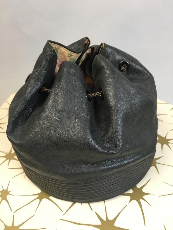 Vintage 30s Leather Handbag// Vintage Deco Era Pu… - image 2