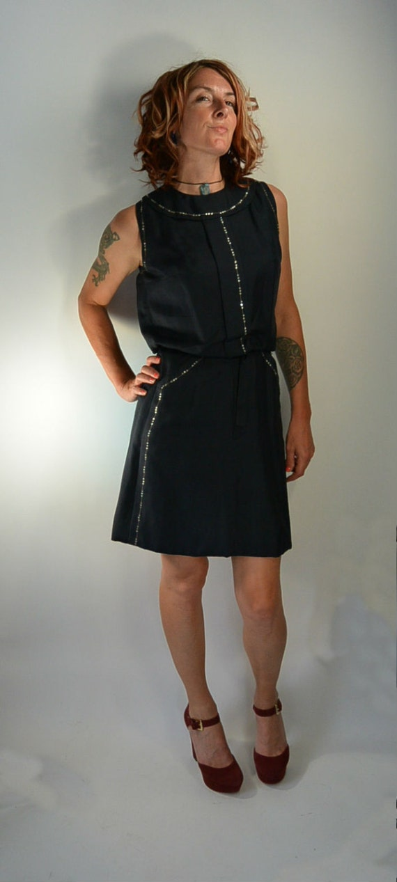 Vintage 40s Dress// Navy Blue Dress// Rhinestone D