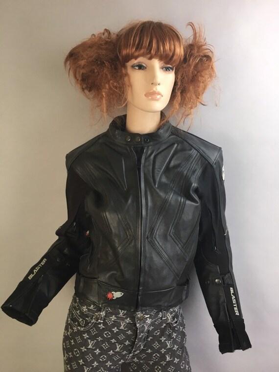 Vintage Leather Motorcycle Jacket// Sport Biker Ja