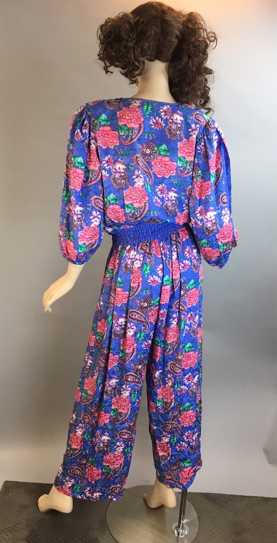 Diane Freis Totally 80s Jumpsuit// All Silk 80s J… - image 6