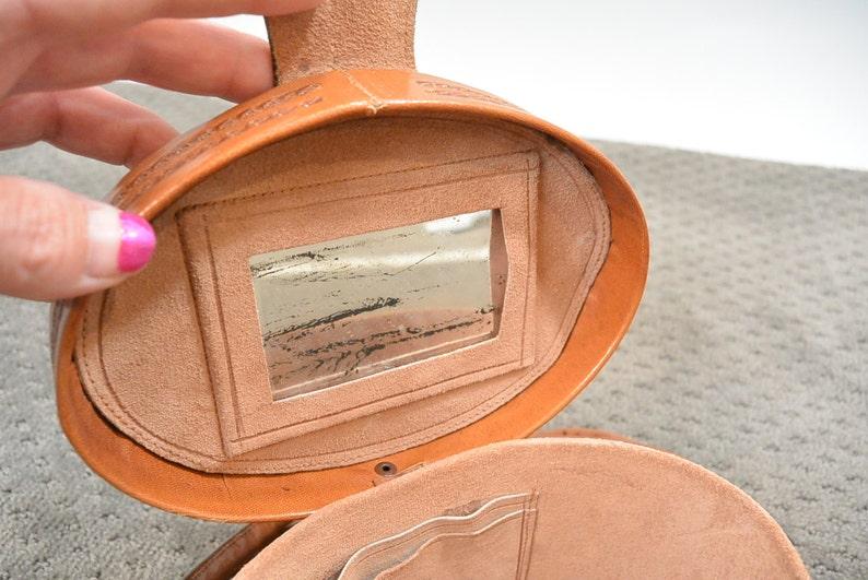 b9e338edd2 Vintage 30s Tooled Leather Purse   Pill Box Leather Purse