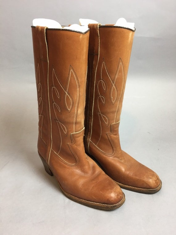 Vintage Ladies Cowboy Boots// Brown Leather Wester
