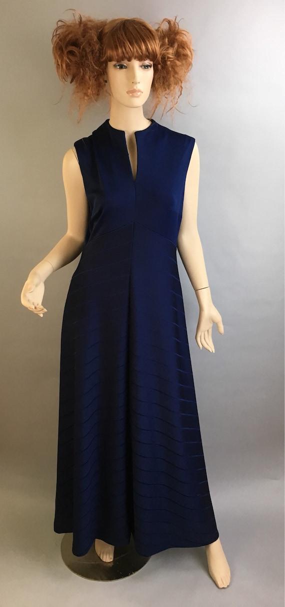 Vintage 70s Dress// 70s Maxi Dress// Navy Blue Max