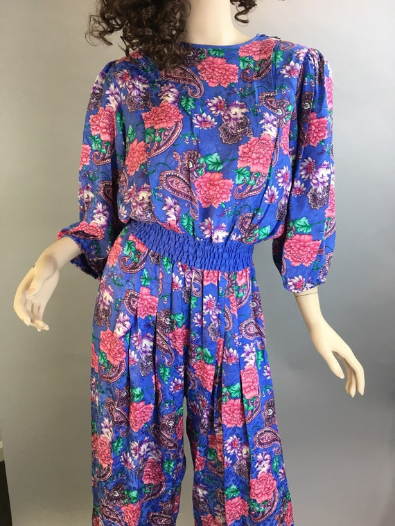 Diane Freis Totally 80s Jumpsuit// All Silk 80s J… - image 2