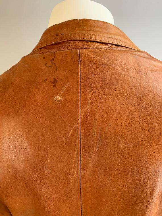 Vintage Mens Leather Blazer// 70s Brown Soft Leat… - image 10