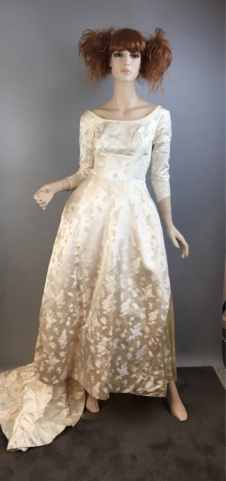 Beautiful 50s Satin Wedding Dress Vintage 50s Scoop Neck Etsy