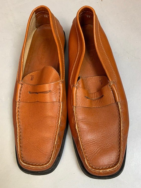 Vintage Tods Loafers// Brown Leather Loafers// Pen