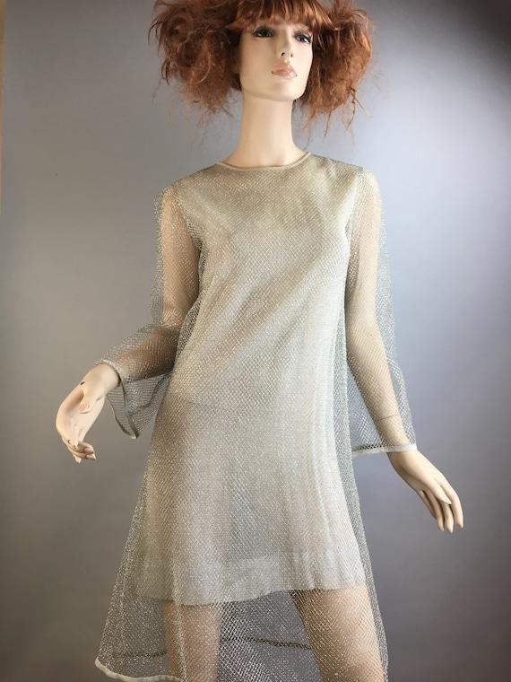 Vintage Mod Fishnet Dress// Gogo Dancer Net Dress/