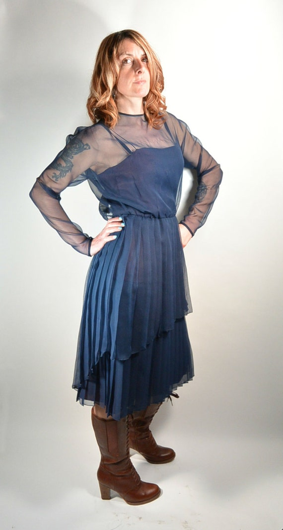 Navy Blue Chiffon Cocktail Dress// Pleated Evening