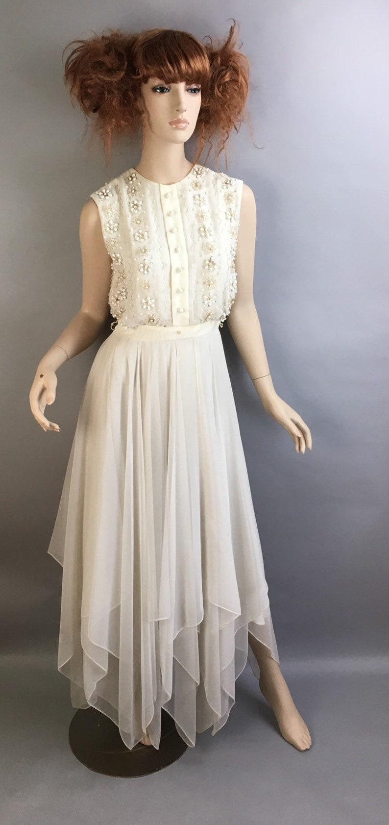 3964b63bc8 Vintage 60s White Dress   Maxi White Beaded Dress   Sequin and