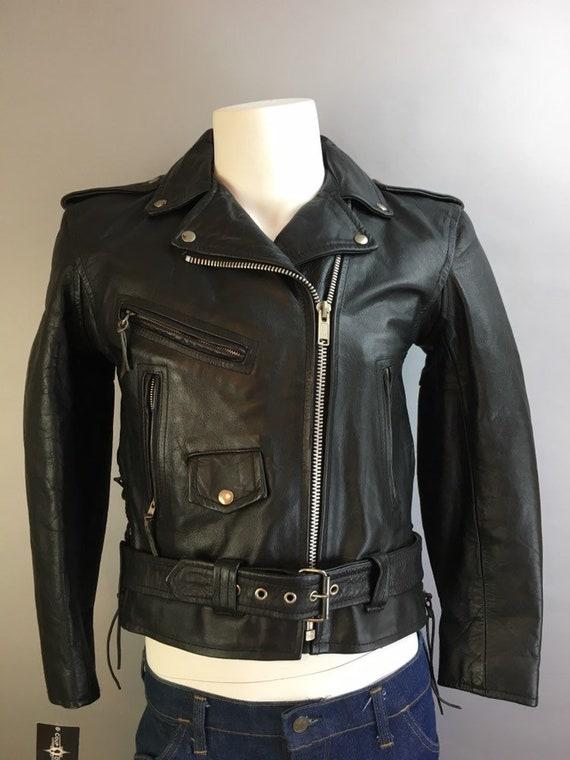 Vintage Motorcycle Jacket// 80s Black Leather Moto