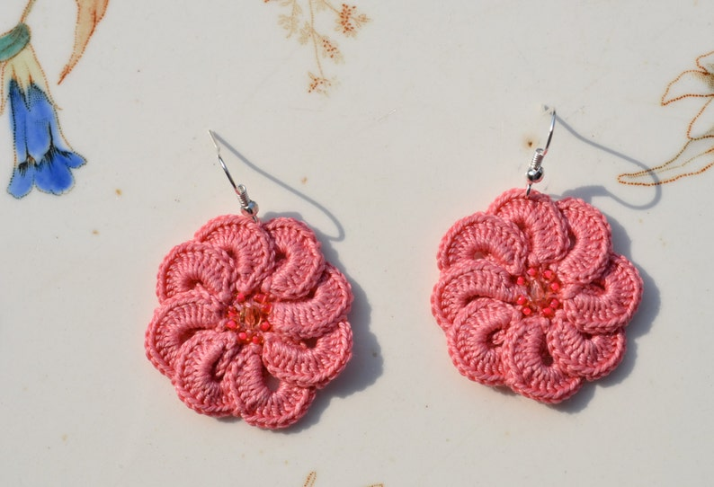 Crochet Earrings Pattern Flower Earrings Instructions Irish Etsy