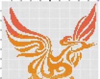 Tribal Abstract Phoenix  -Retro, Colorful, Pixel Subversive Bohemian Vintage Cross Stitch Pattern - Instant Download