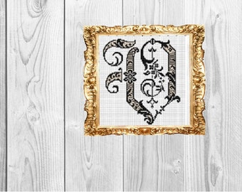 Fancy v monogram etsy monogram letter v fancy vintage wedding baby home subversive snarky cross stitch pattern instant download thecheapjerseys Image collections