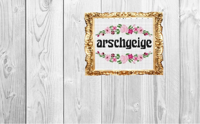 German: arschgeige- Idiot, arsehole - as* violin - Snarky Subversive Cross  Stitch - Instant Download