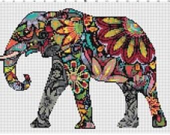 Rainbow Elephant -Retro, Colorful, Pixel Subversive Bohemian Vintage Cross Stitch Pattern - Instant Download