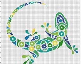Tribal Gecko  -Retro, Colorful, Pixel Subversive Bohemian Vintage Cross Stitch Pattern - Instant Download
