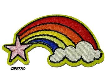 Star Rainbow retro iron on patch applique