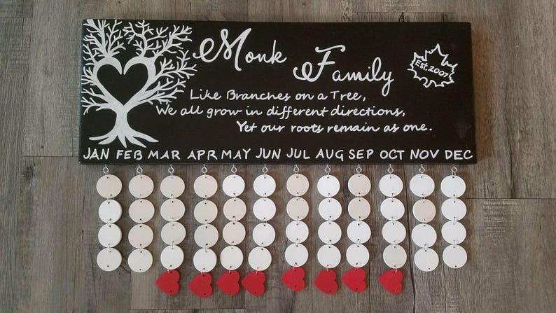Family Birthdays Board Birthday Chart Wood Sign