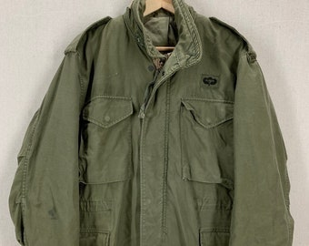 bef0da3599ed0 Vintage US Military M65 Olive Green Field Jacket Sz Medium Short Army  Marines USAF