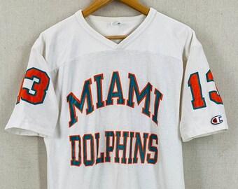 922f656f6 Vintage 80 s Dan Marino Miami Dolphins Champion Durene Football Jersey Sz L