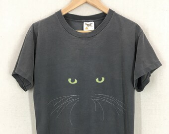 Vintage 80's Cat With Glowing Eyes T-Shirt Sz M