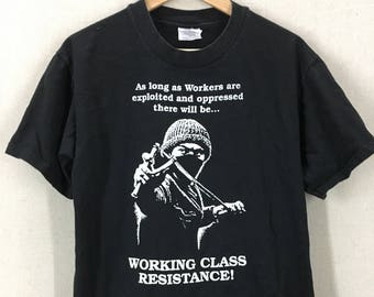 Vintage Exploited & Oppressed Working Class Resistance Anarchy Punk T-Shirt Sz M