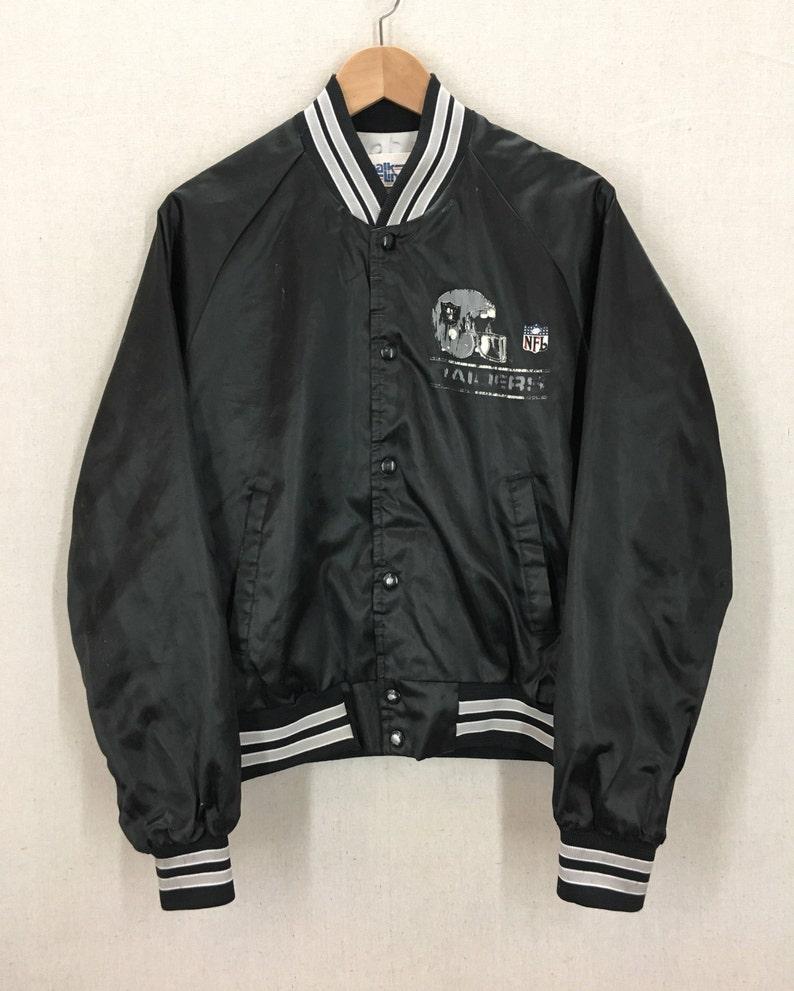 24af9ca0 Vintage Los Angeles Raiders Black Satin Chalkline Jacket Sz M