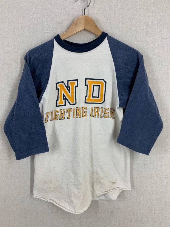 Vintage 70's Notre Dame Fighting Irish Raglan Football T Shirt Sz XS