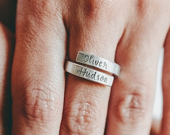 Mothers Ring, Ring With Names, Christmas Gift for Mom, Personalized Name Ring, Twin Mom, Mom of Boys