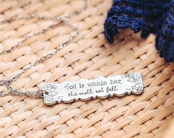 God Is Within Her She Will Not Fall, Christian Gift, Faith Jewelry, Bible Verse, Thinking Of You Gift,