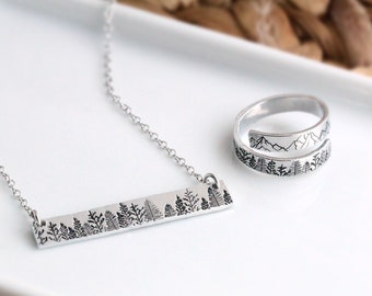 Forest Jewelry, Tree Necklace, Forest Ring, Gift for Nature Lover, Necklace and Ring Set, Gift for Hiking, Christmas Gift