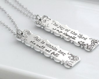 God Is Within Her She Will Not Fall, The Joy Of The Lord Is My Strength, Christian Gift, Faith Jewelry, Bible Verse, Thinking Of You Gift,
