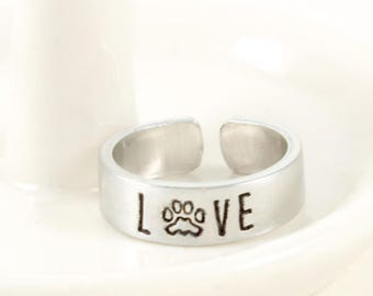 Cuff Ring - Dog Ring - Dog Lover Gift - Dog Memorial - Dog Mom - Dog Remembrance - Personalized Ring - Christmas Gift - Mothers Ring