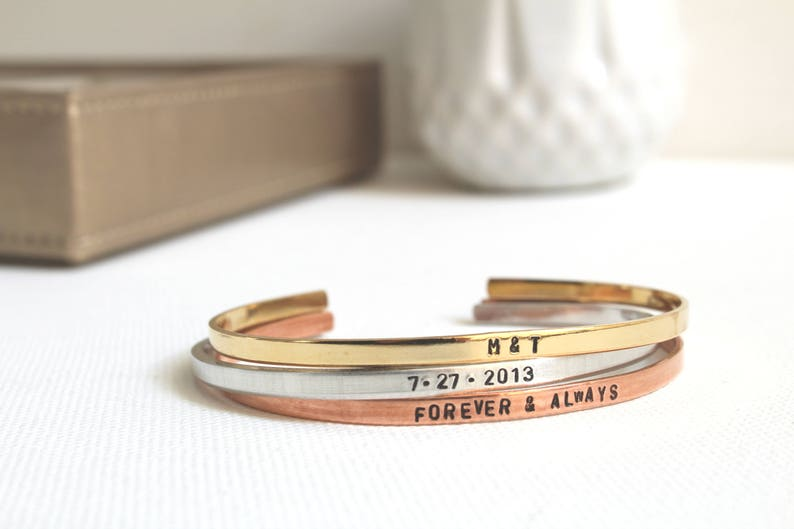 Anniversary Gift Wedding Jewelry for Bride Gold Rose Gold Silver Cuff Bracelets Stack Wedding Bracelet